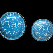 Miniature Doll Size Enamel Blue Swirl Graniteware Bowl Sauce Pan Near Mint Dollhouse