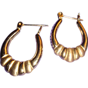14K Yellow Gold Door Knocker Hoop Earrings Lever Back Shiny and Satin Finish