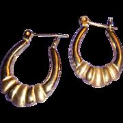 14K Yellow Gold Door Knocker Hoop Earrings Lever Back Shiny and Satin Finish