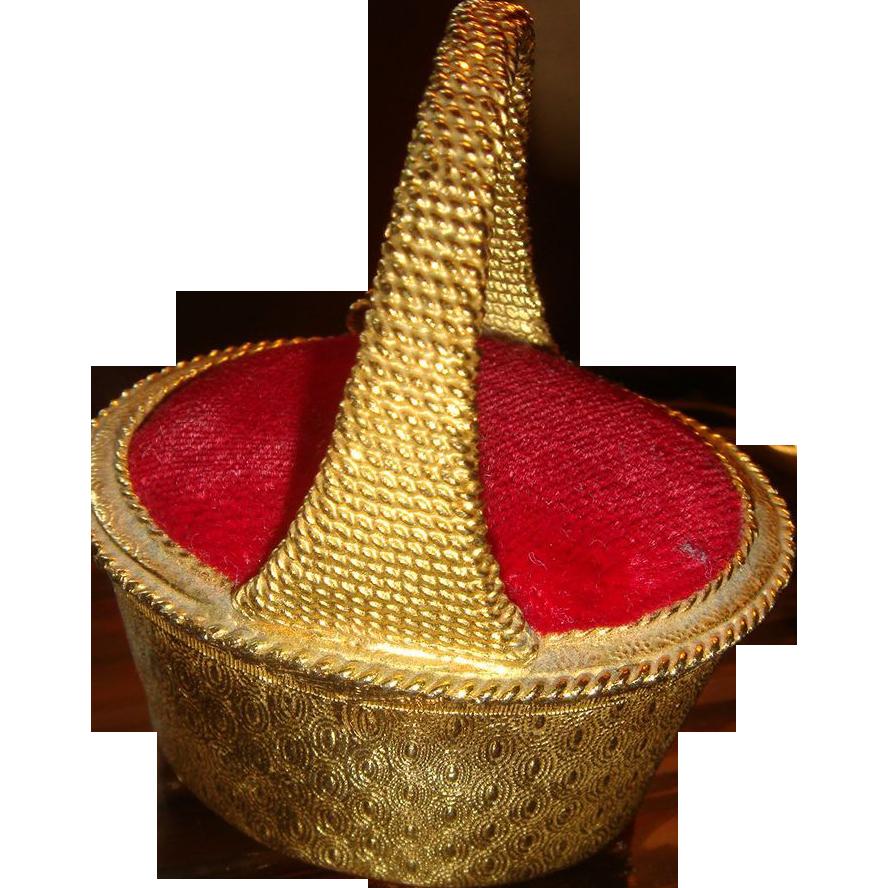 Florenza Basket Trinket Box Velvet Pin Cushion Style Top Lid