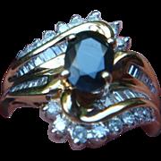 14 K Gold  Ring 1 Carat Blue Sapphire 1/4 Carat Diamonds Cocktail, Anniversary