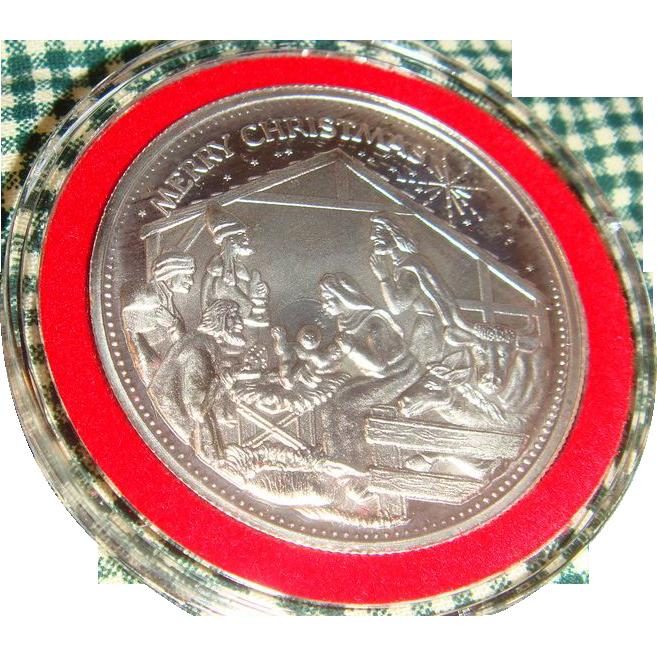 1991 Troy Ounce Fine Silver Christmas Nativity Medallion Pendant