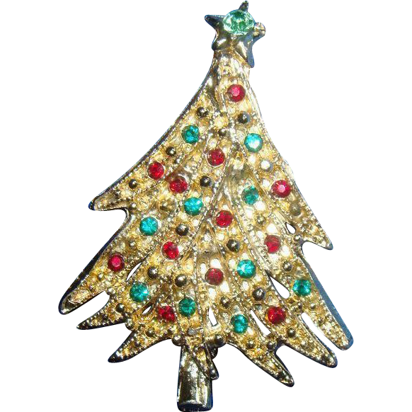 Dimensional Christmas Tree Pin Brooch With Rhinestone Ornaments Overlapping Branches