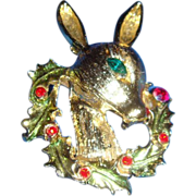 Tancer II Rudolph Pin Brooch With Wreath and Rhinestones Designer Piece