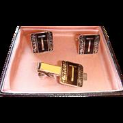 Boxed Set Swank Vintage Cufflinks & Tie Bar Clip  Initial T Art Deco Colors