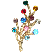Van Dell Gold Filled Rhinestone Modern Christmas Tree Pin Brooch or Tree of Life