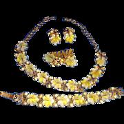 Florenza Molded Glass Leaves & Rhinestone Parure Necklace, Brooch, Bracelet, Earrings