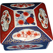 Asahi Japan Porcelain Trinket Box Dish With 3 Main Amari Colors