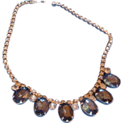 Large Sapphire Blue and Baby Blue Vintage Choker Necklace Prong Set Stones