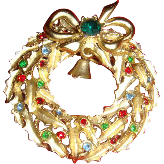 Satin Gold Toned Christmas Wreath Pin Brooch With Bell, Bow, Leaves, Ornaments