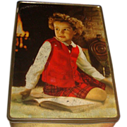 Vintage Tin Edward Sharp & Sons England Young Girl With Curls, Red Vest Plaids, Bellows