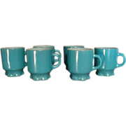 Set of Six Fire King Anchor Hocking Turquoise Concord Ruffled Pedestal Mugs