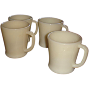 Set of 4 Heavy Flat Bottom Shaving  Coffee Mugs Ivory Fire King Glass