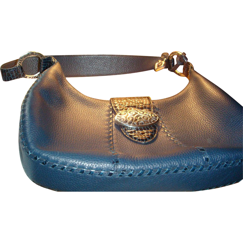Authentic Brighton Retired Franki Denim Navy Leather MINT Mock Croc Handbag, Box, Dustbag