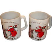 2 Magic of Christmas Santa Mugs by Federal, American Greetings