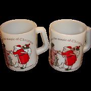 2 Magic of Christmas Santa Mugs by Federal, American Greetings
