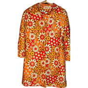 1960's Rhapsody By Glazier Quilted Robe or Bed Jacket Bold Psychedelic Colors