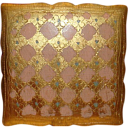 Florentine Wooden Box Made in Italy Gold Gesso Gilt Diamonds, Fleur de Lis, Flowers Scalloped Edges