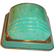 Art Deco Jadite Green Ring Presentation Box Celluloid Evansville, Indiana