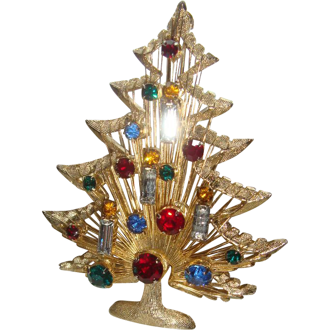 Large Brooks Signed Harp Strings Wire Christmas Tree Brooch Pin 21 Baguettes and Round Stones