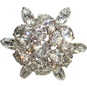 Round Brilliant and Marquise Cut Rhinestone Dimensional Brooch Unsigned Designer Quality