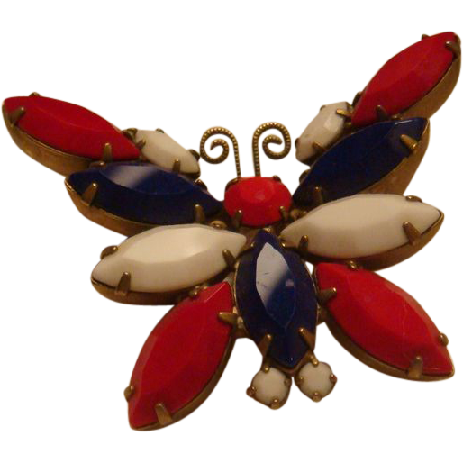 Red, White Blue Patriotic Butterfly Brooch Marquise and Round Cut Prong Set Stones