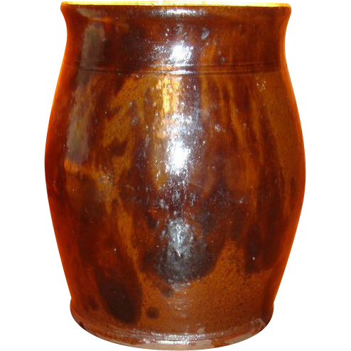 Early Redware Ovoid Jar With Black Manganese Decoration Indiana Estate