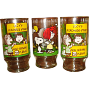 Set of 3 Peanuts Gang Glasses Lucy's Lemonade Stand, Snoopy, Charlie Brown Lucy Fly Kite
