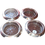 Set(s) of 4 Frank Whiting Bernard Instone Beaded Sterling and Crystal Glass Coasters