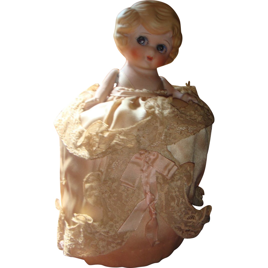 Very Old Parian Japan Bisque Google Eye Pin Cushion Doll Blushing Cheeks Satin & Lace KY Estate