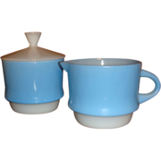 Fire King Anchor Hocking Blue Mosaic Sugar With Lid & Creamer Excellent