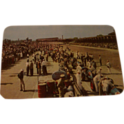 Mobiloil Products 500 Mile Speedway Postcard Pit Area Mobil Oil 1950's Indianapolis, Indiana