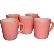5 Hazel Atlas Fired On Pink Over Milk White Platonite Mugs Coffee Cups