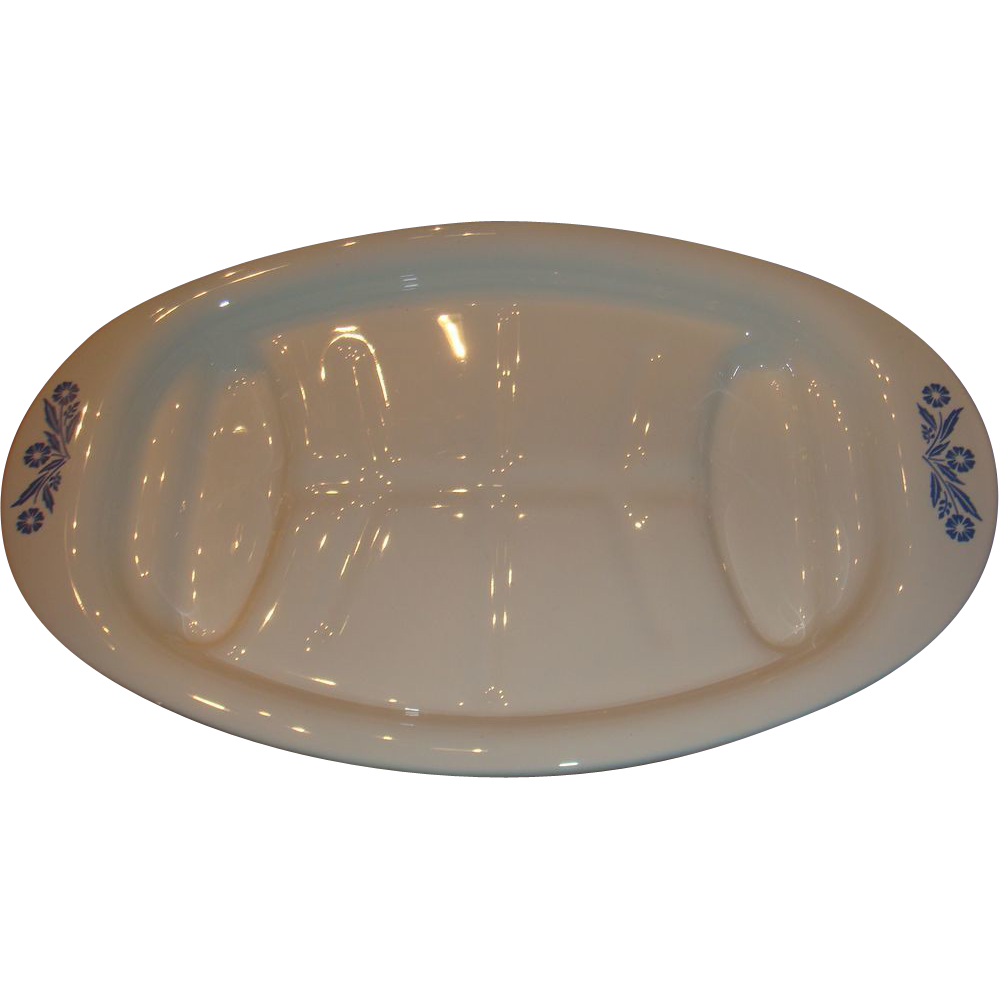 Corning Ware Blue Cornflower Well and Tree Meat Platter P - 19