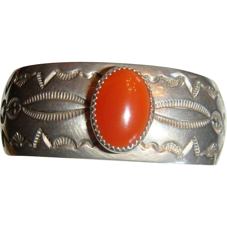Sterling Silver Native American Signed Bracelet Bezel Set Carnelian MKM Heavy, Substantial