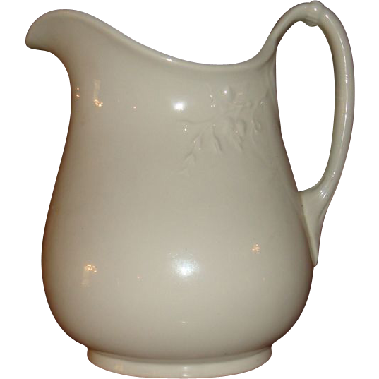 Early Large White Ironstone China Pitcher Flower and Vine Rope Handle 9 1/2 - 10 Inches