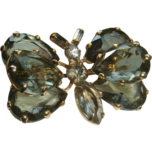 Large Glass Prong Set Butterfly Brooch Faceted Stones Marquise, Pear Shaped, Baguettes, Round
