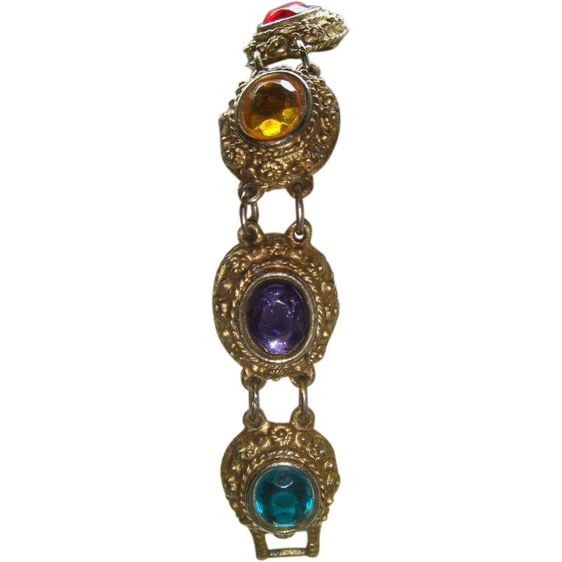 Vintage Colorful Bracelet 7 Repousse Gold Plated Settings