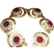 Vintage Bracelet 6 Crescent or Teardrop Shaped Settings Ruby Red & Clear Rhinestones