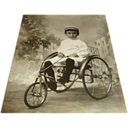 Real Photo Picture Postcard Young Child on Antique Tricycle