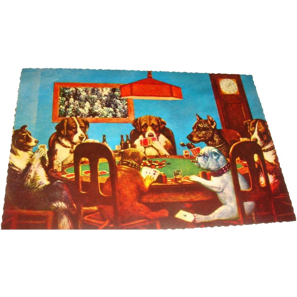 Vintage Whimsical  Postcard 7 Dogs Playing Cards Poker Only A Friend Needed
