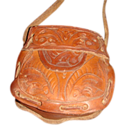 Doll or Child Size Purse Handmade Tooled Leather