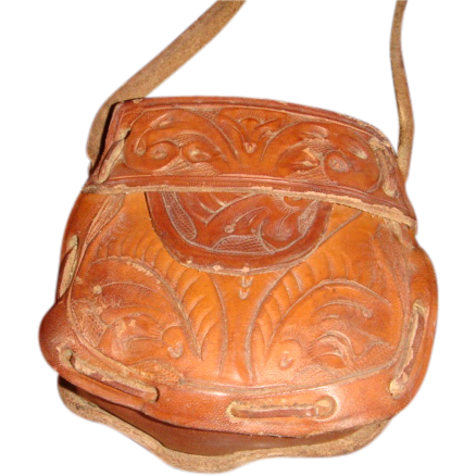 Doll or Child's Purse Handmade Tooled Leather