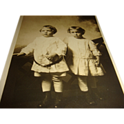 Real Photo Sepia Postcard Twin Sisters Little Girls Tired From Photo Shoot, Unused