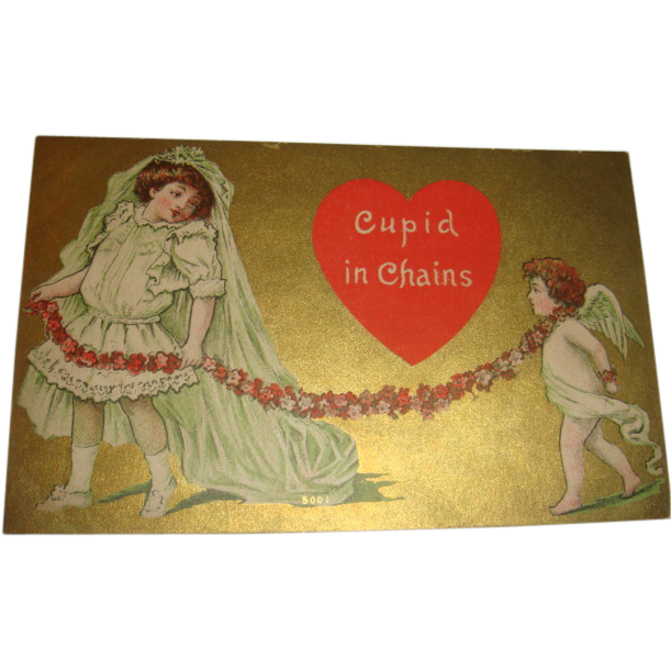 Cupid in Chains 1910 Valentine Postcard Little Girl Bride Pulls Cupid by Chain of Flowers