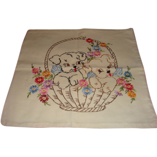 Vintage 1950's Hand Embroidered Pillow Cover Two Puppies in a Basket of Flowers Crisp and Clean Linens, Textiles