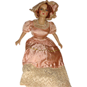 Vintage French Boudoir Bed Doll Original Dress Pink Cheeks Satin and Lace Dress