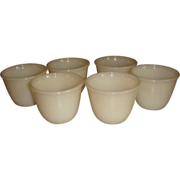 Set of 6 Fire King Ivory Beaded Edge Ramekin Custard Cups Block Letters Old Glass Mark