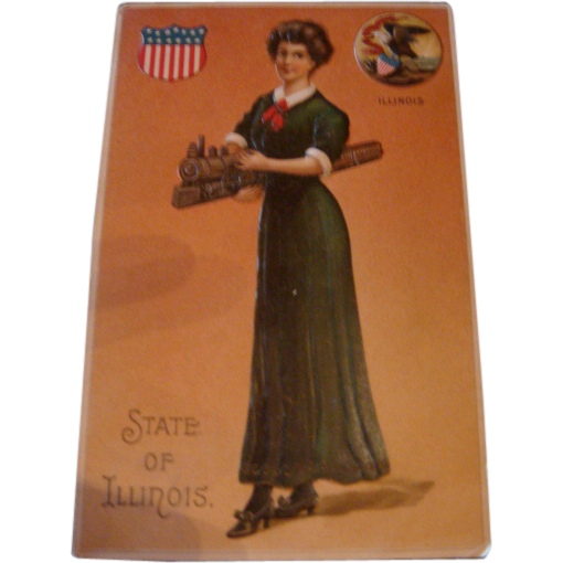 Early 1900's Embossed State of Illinois Postcard Lady Holding a Train, Patriotic Symbols