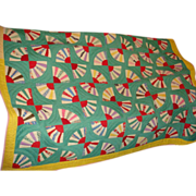 Hand Pieced and Stitched Fan Quilt Probably 1940's Bright Bold Colors
